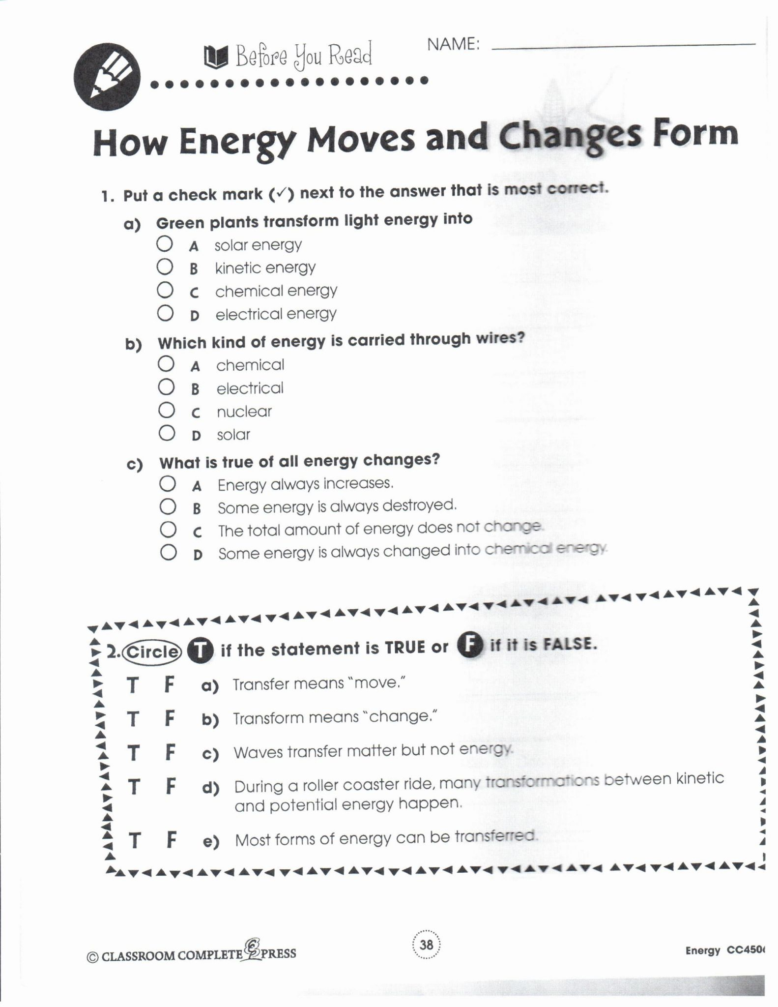 Kinetic And Potential Energy Worksheet Answer Key
