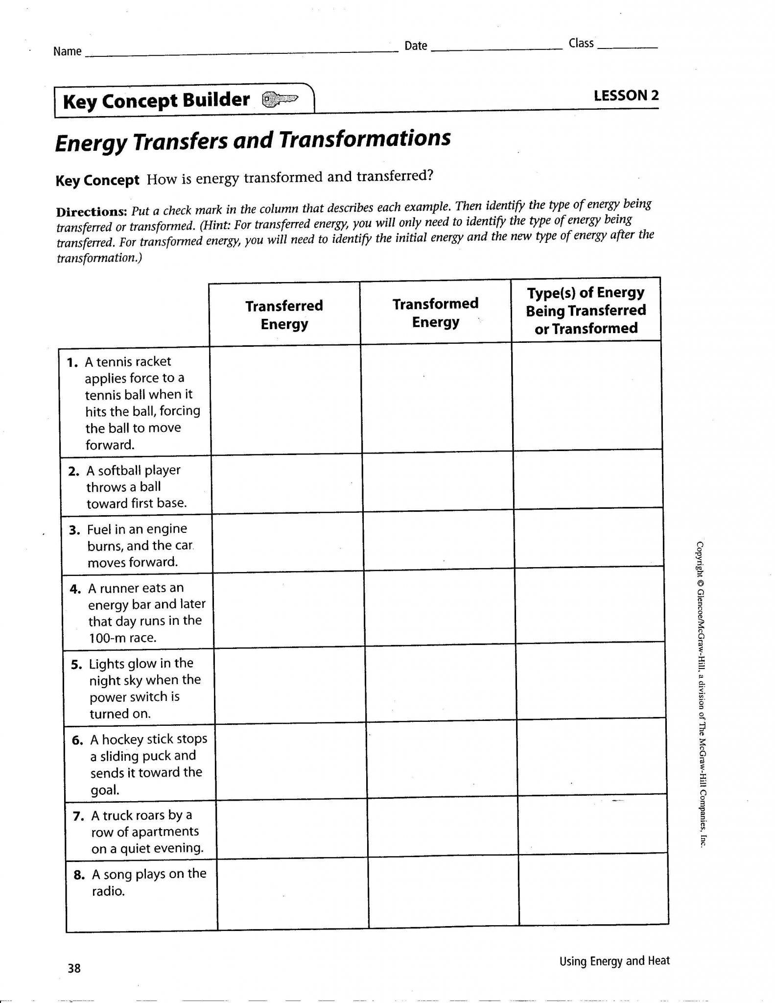 Kinetic Energy And Potential Energy Worksheet