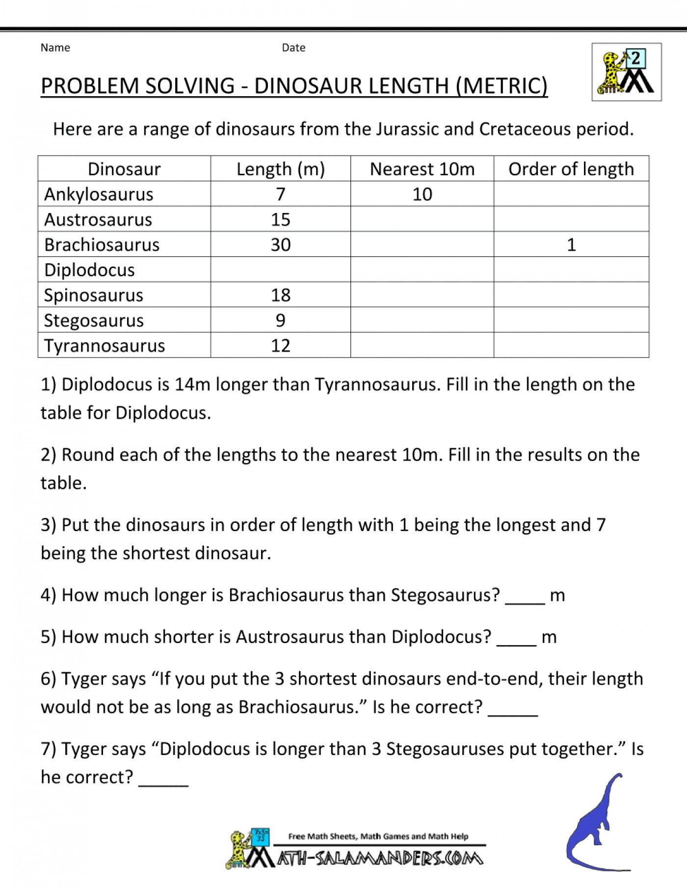 Dinosaur Worksheet For 2nd Grade