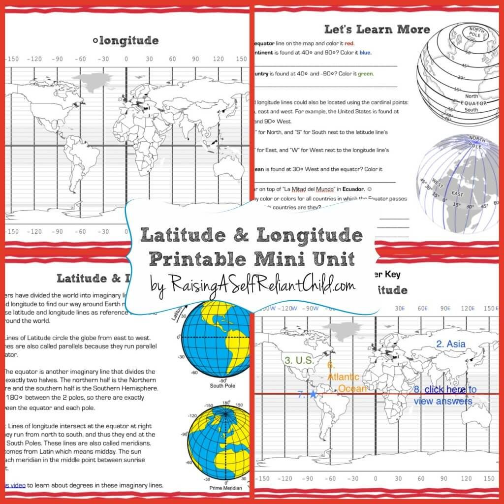 Latitude And Longitude Worksheets For 6th Grade