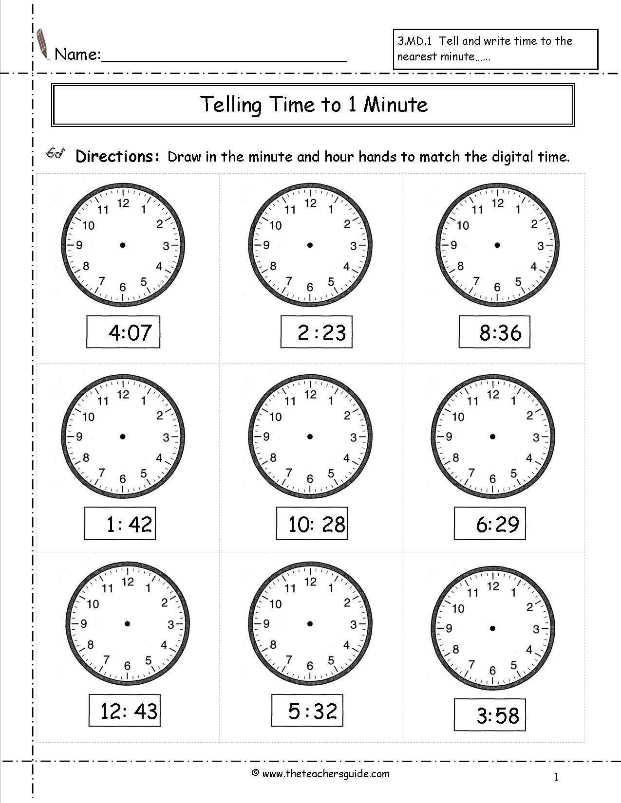 Fourth Grade Telling Time Worksheet