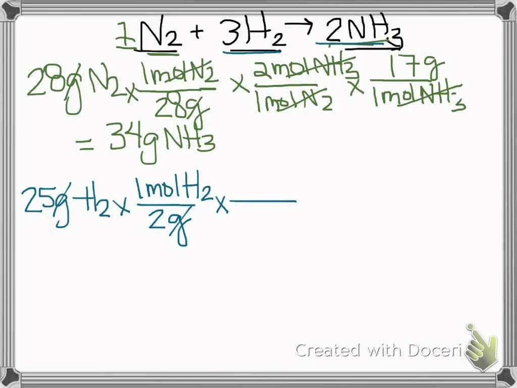 Limiting Reactant Problems Worksheet