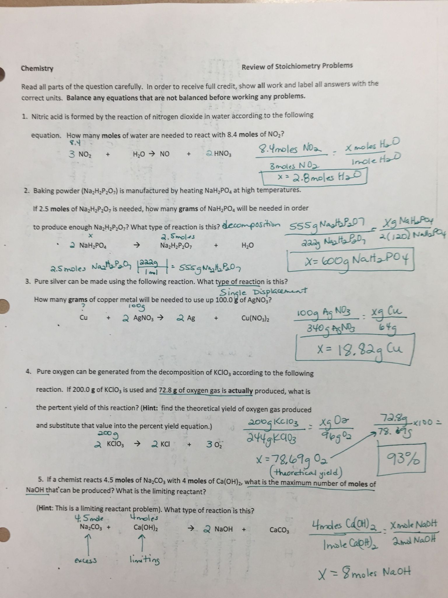 Limiting Reactant Worksheet Answers