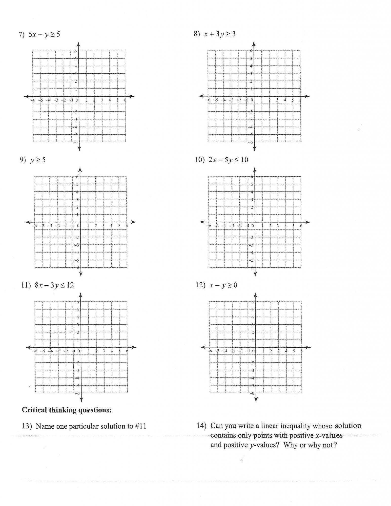 Linear Equation Problems Worksheet