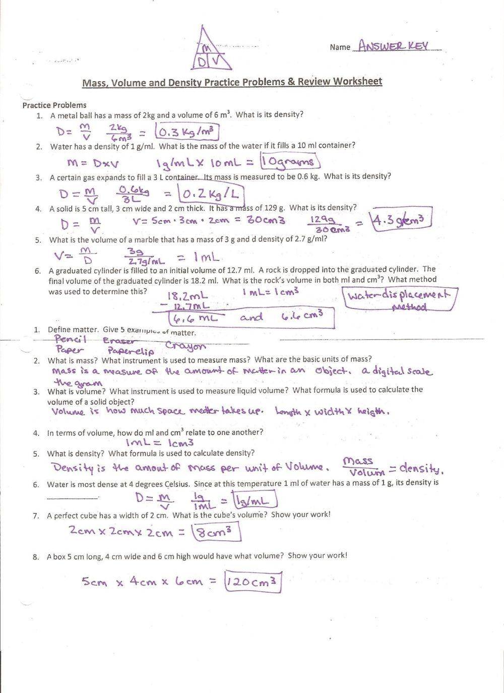 medium resolution of Mass Volume Density Worksheet Answers - Nidecmege