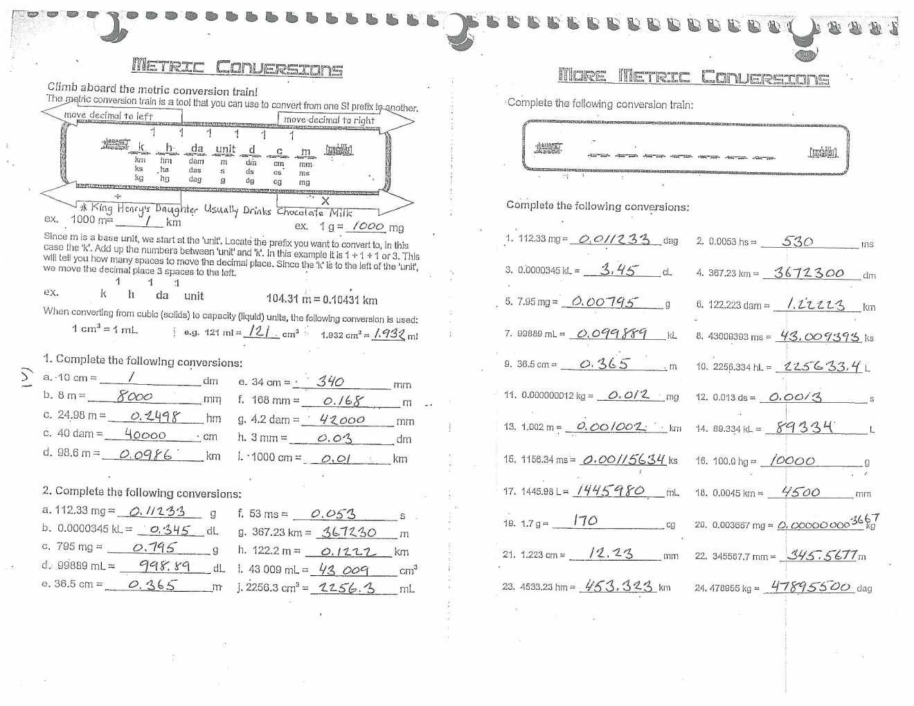 Unit 1 Chemistry For Life Metric Conversion Worksheet