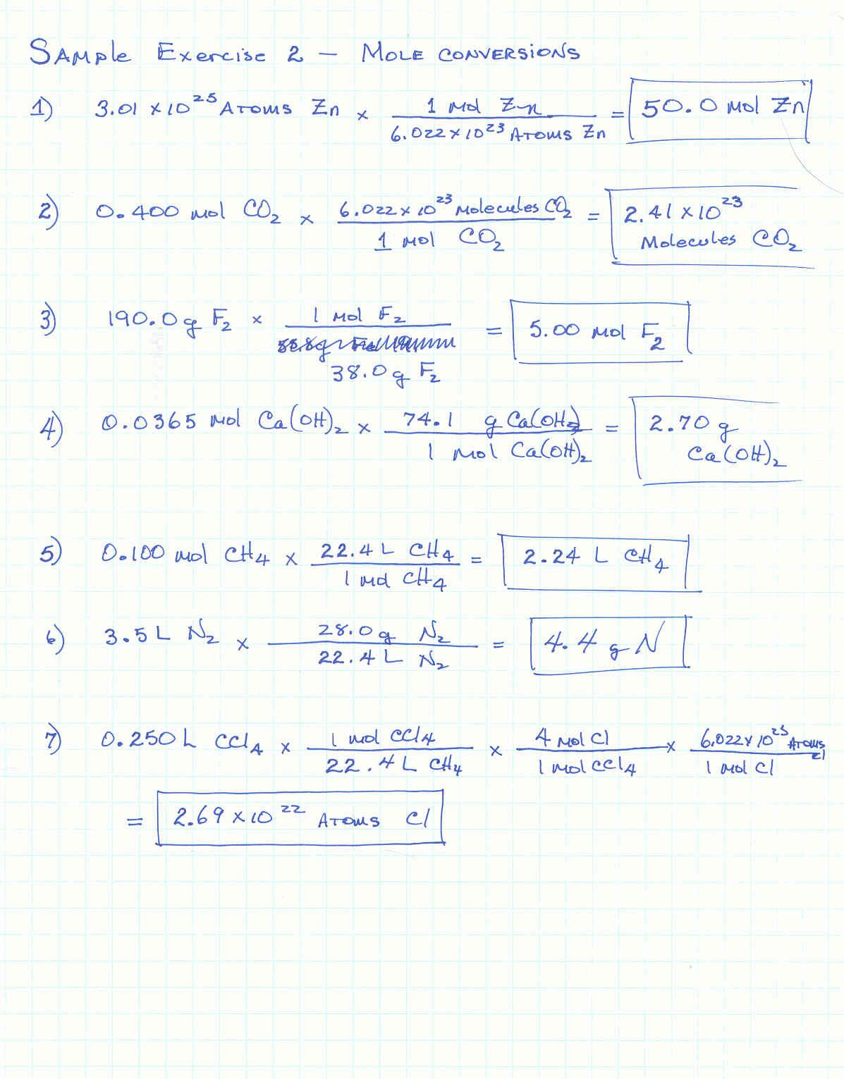 Molar Mass Worksheet Answers