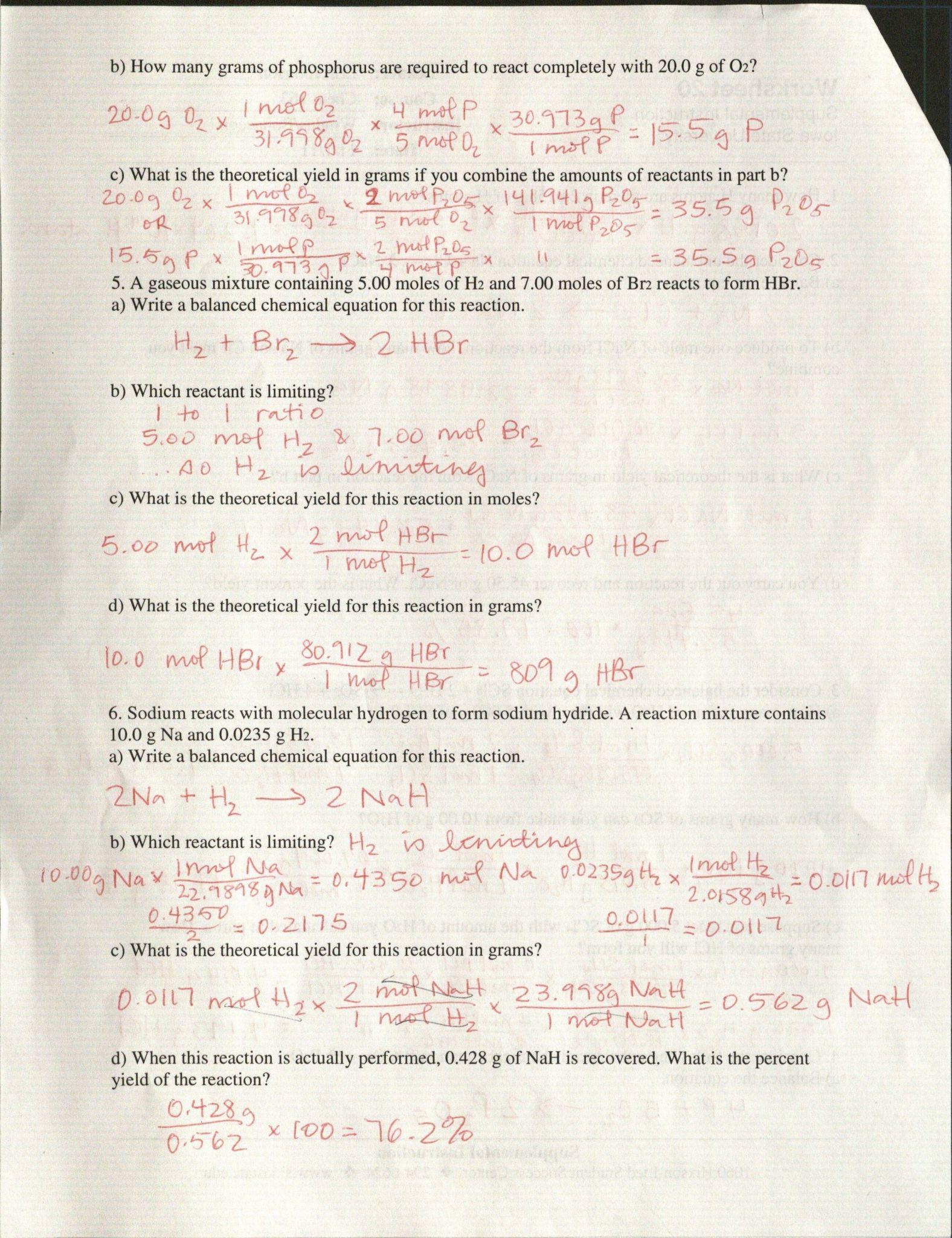 Moles To Grams Worksheet