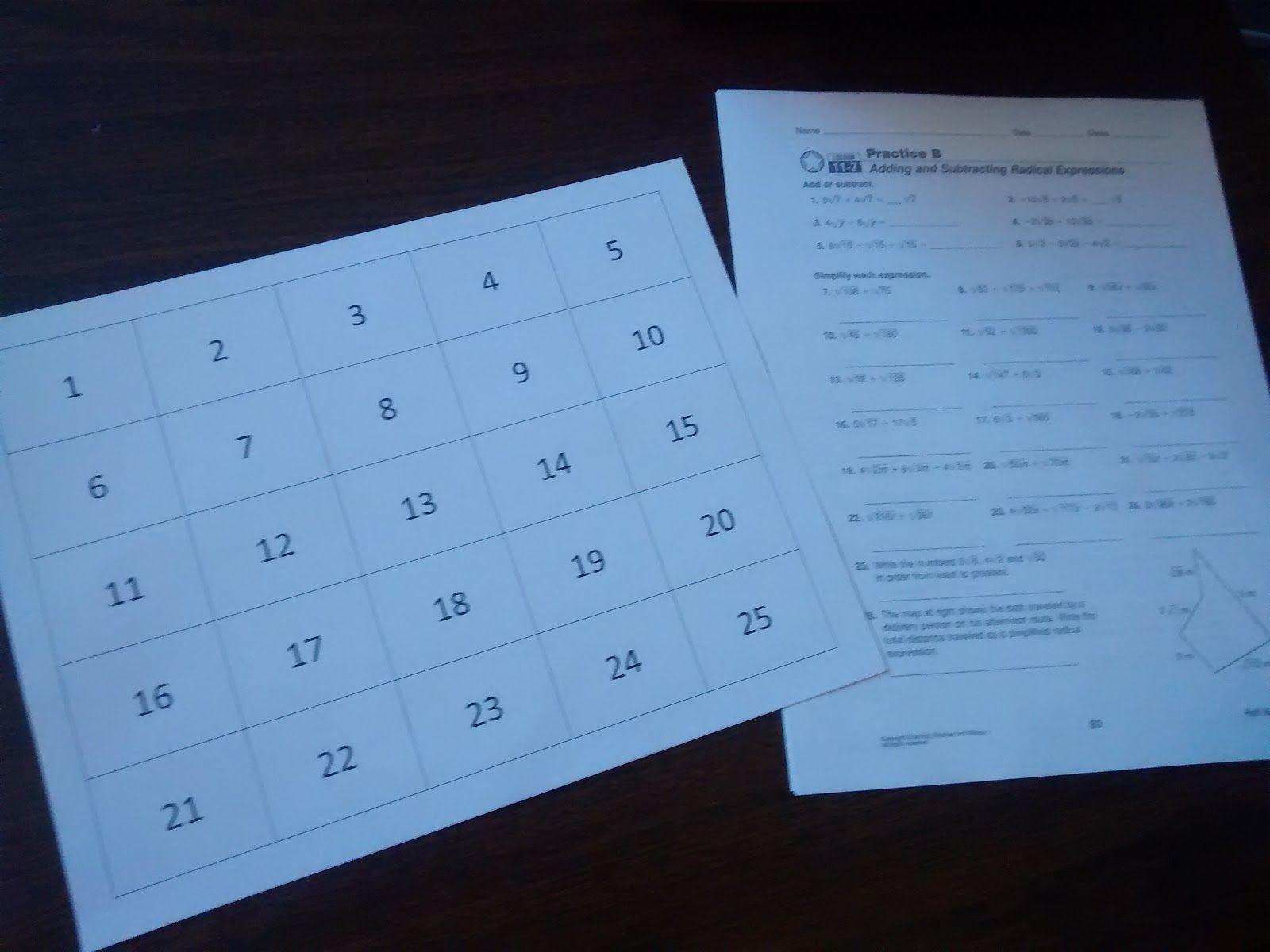 Moving Words Math Worksheet