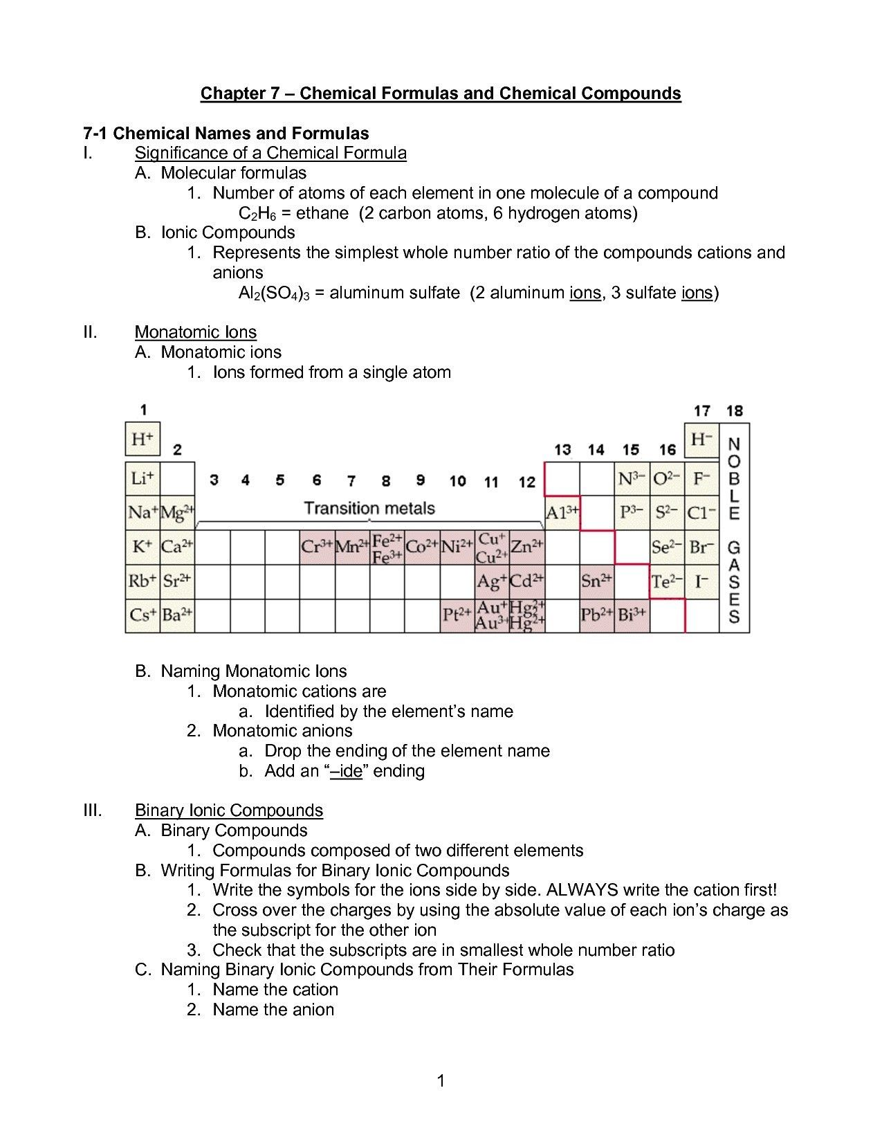 Naming Ionic Compounds Worksheet Answers