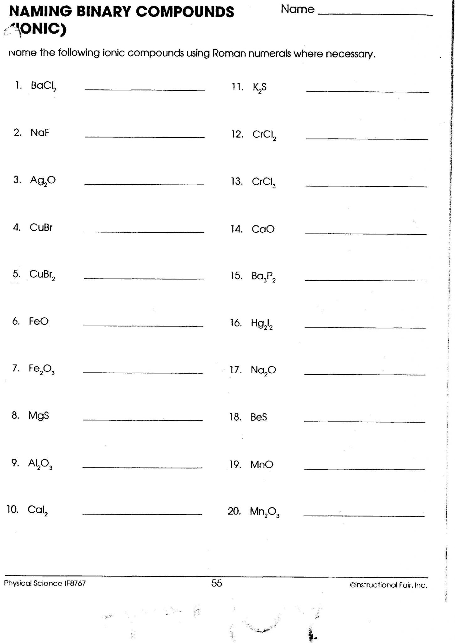 Naming Ions And Chemical Compounds Worksheet 1