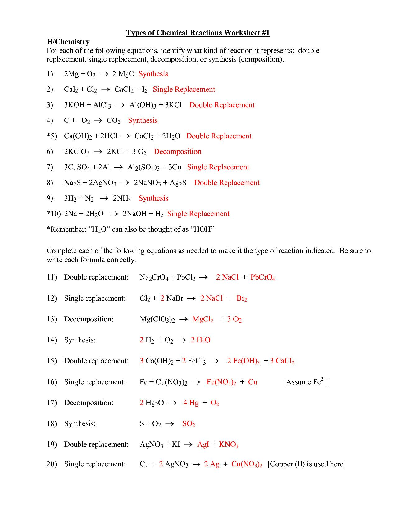 Mcgraw Hill Worksheet On Chemical Reactions