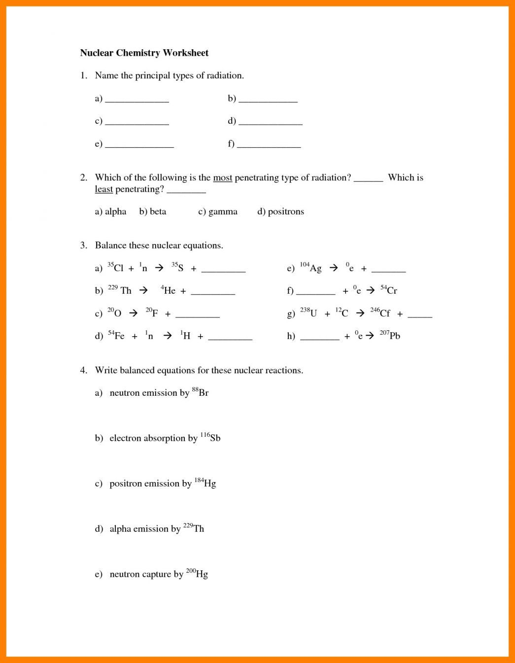 Nuclear Decay Worksheet Answers