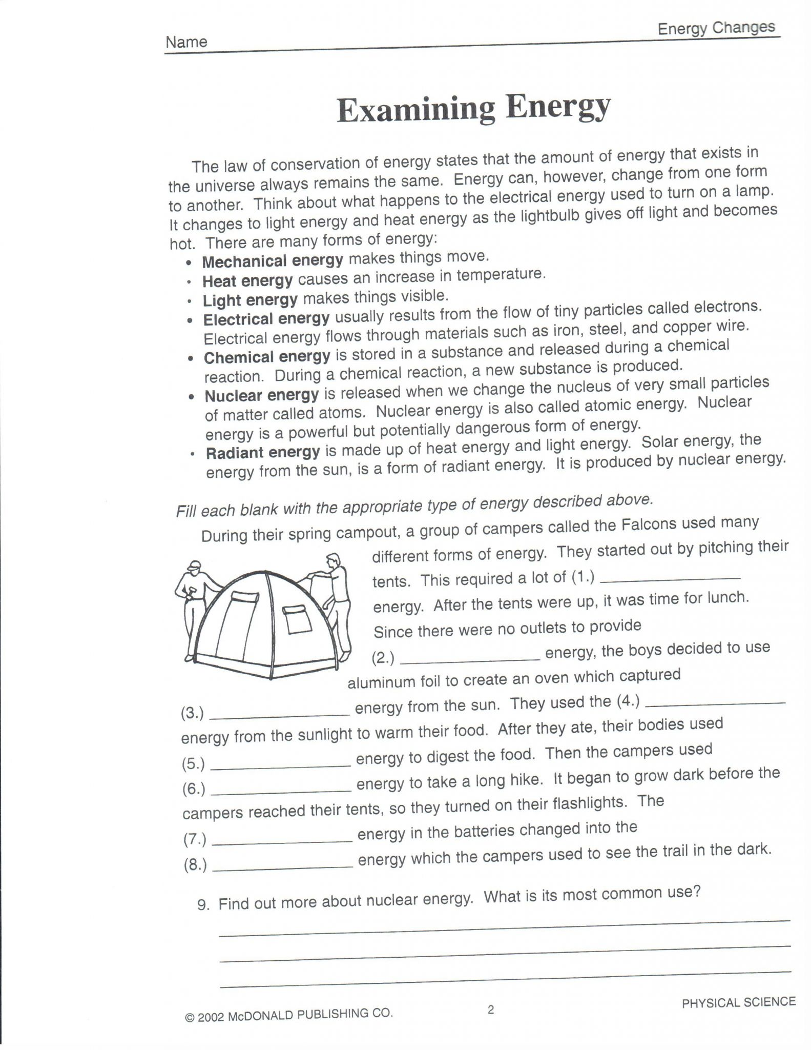 Energy Diagram Worksheet Answer