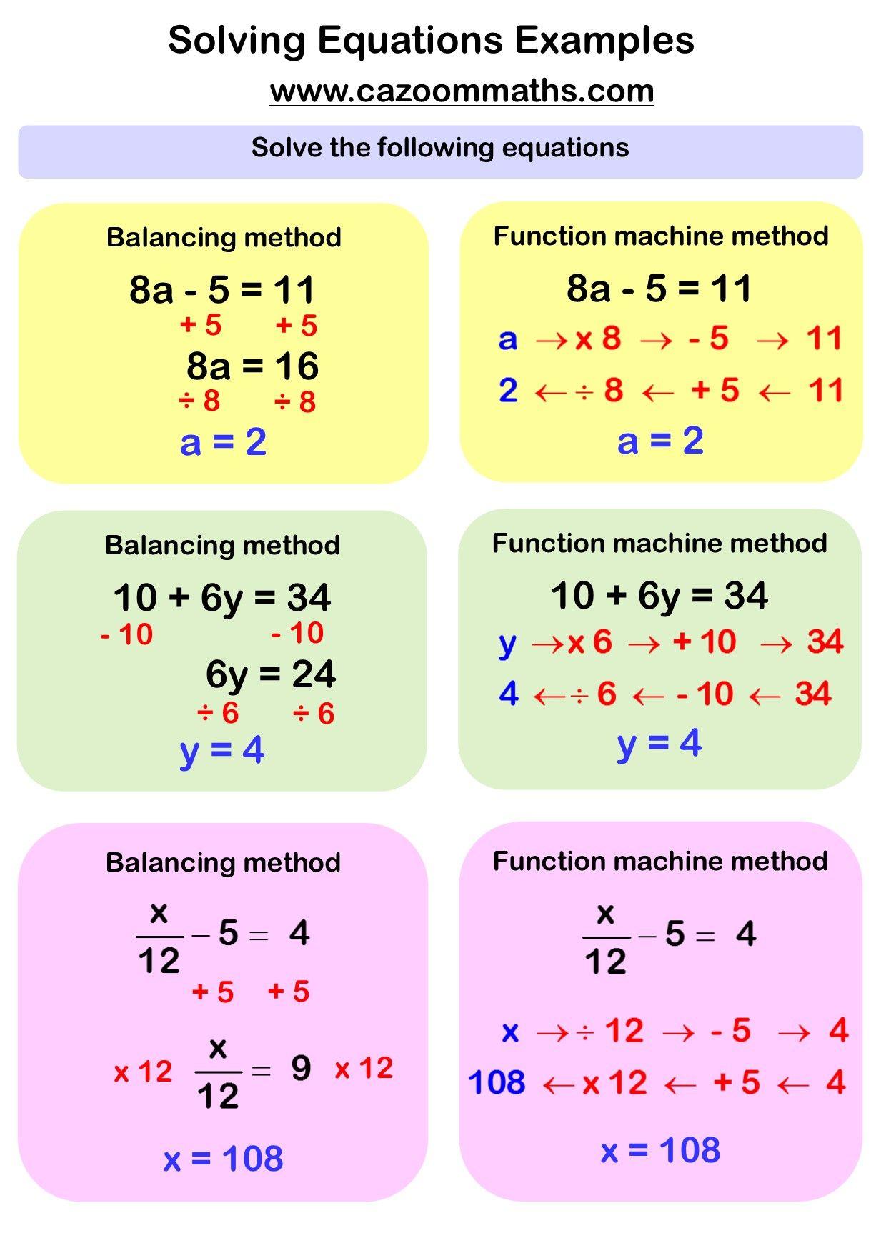 One Step Equations Worksheet