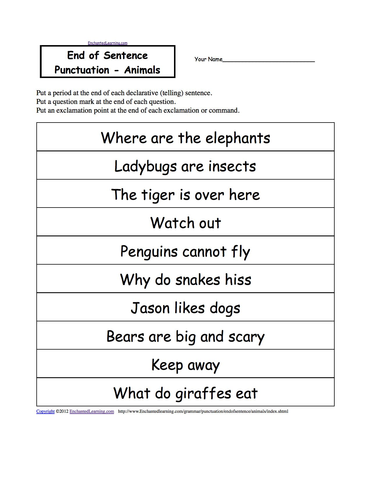 Full Page 5th Grade Grammar Worksheet