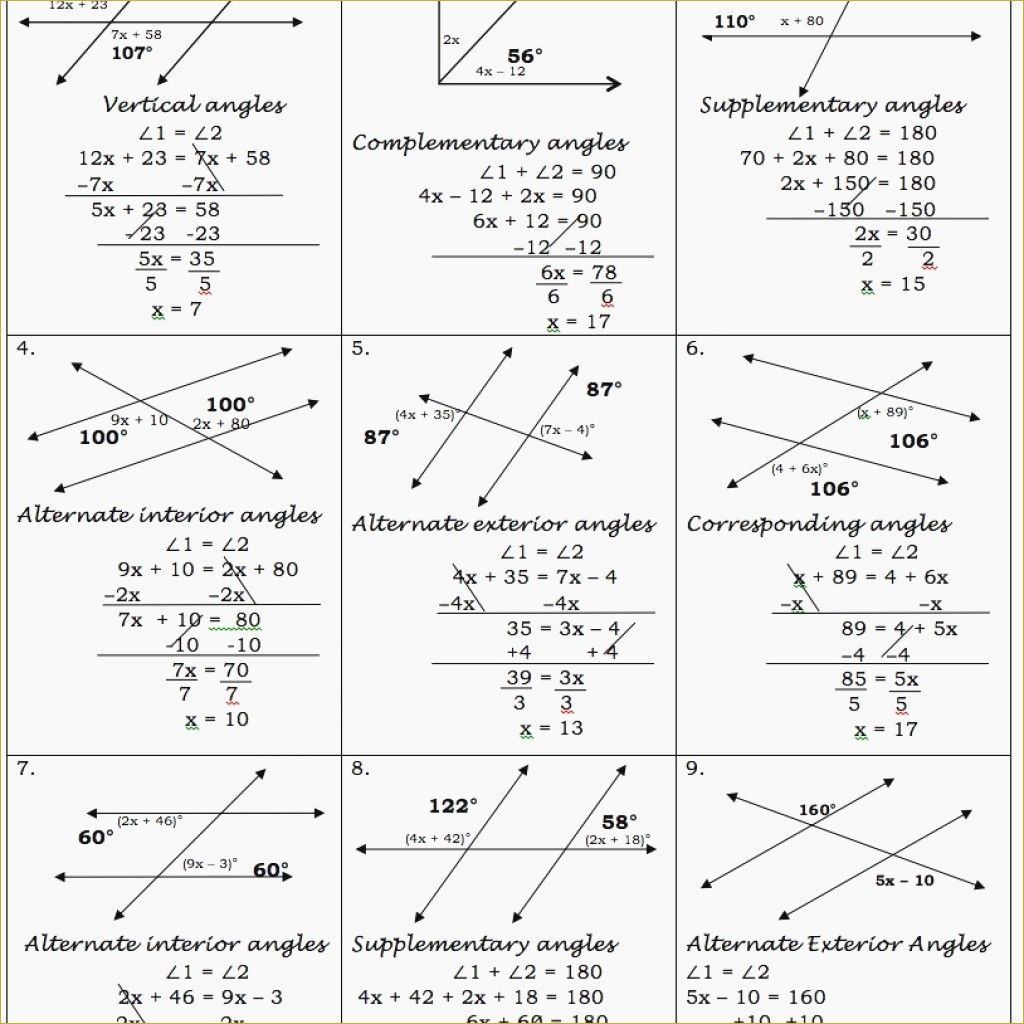 Parallel Lines Cut By A Transversal Worksheet Answer Key