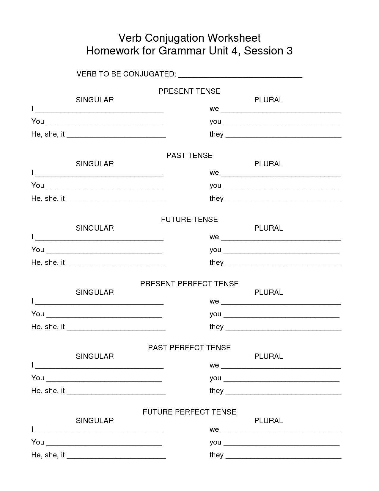 Past Participle Spanish Worksheet