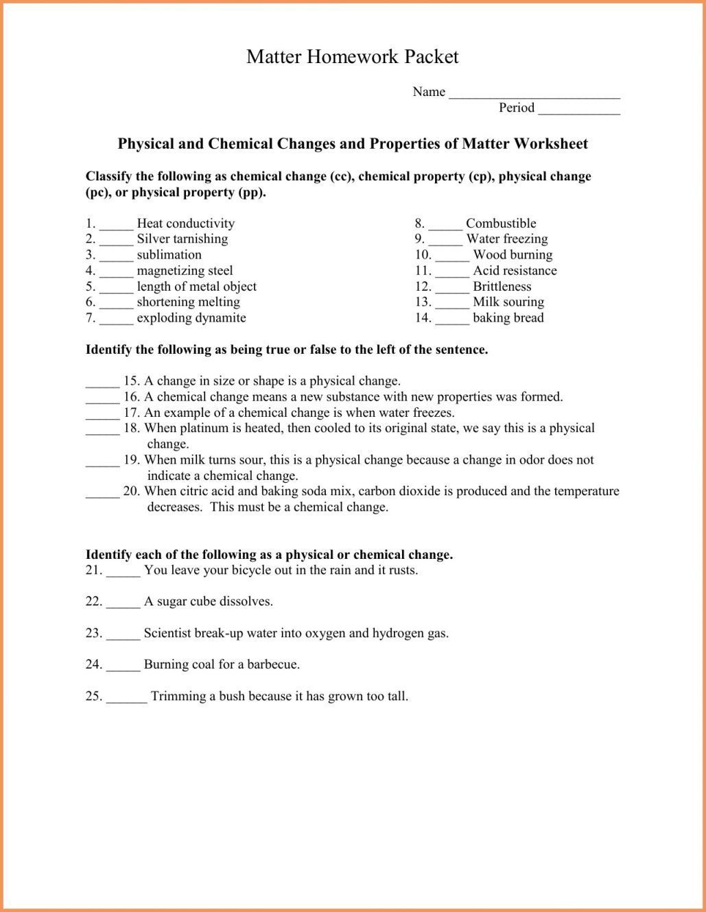 Physical And Chemical Changes Worksheet Answer Key