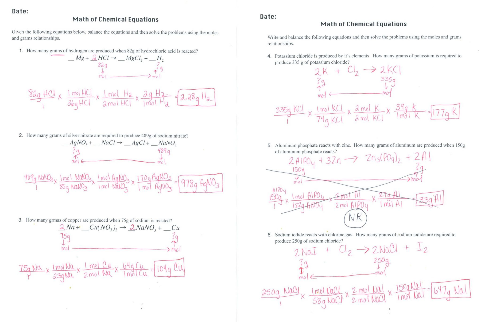 Predicting Products Of Chemical Reactions Worksheet Answers