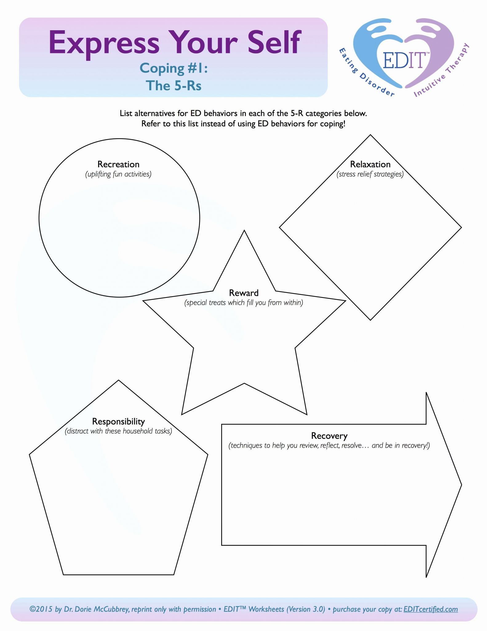 Coping Skills Worksheet Printable