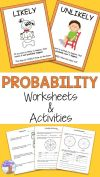 Use these Probability Worksheets and Activities with your first second and third grade students Worksheets activities posters task cards match game