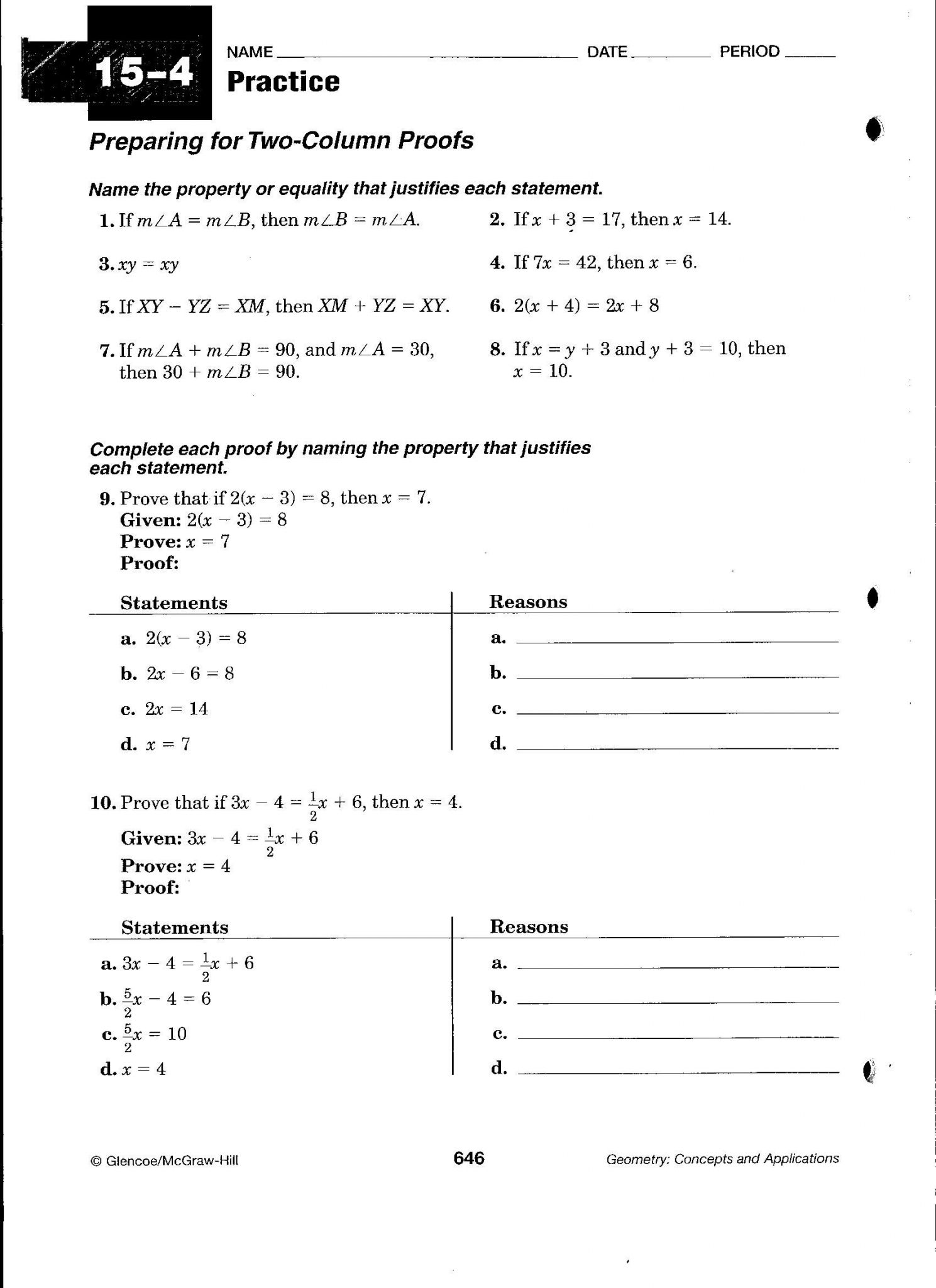 Proofs Practice Worksheet Answers