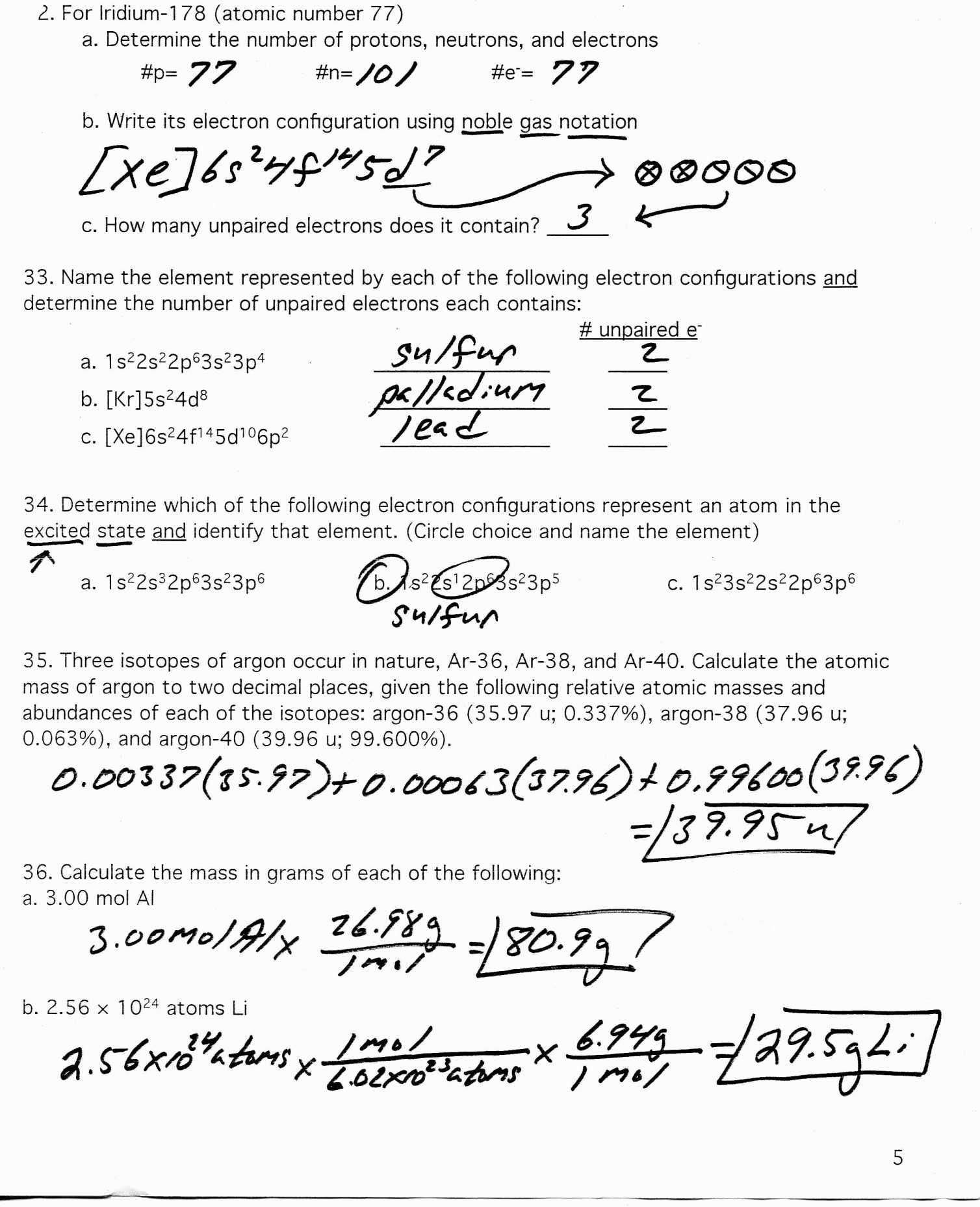 Electron Configuration Worksheet And Lots More Answer Key