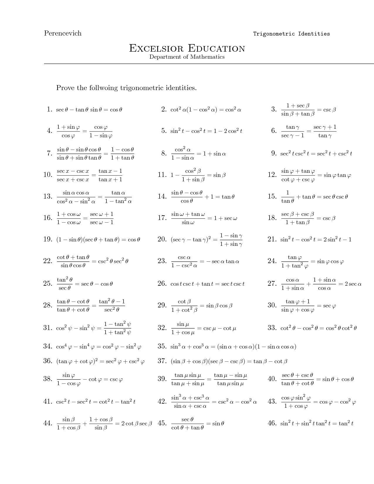 Proving Trigonometric Identities Worksheet With Answers