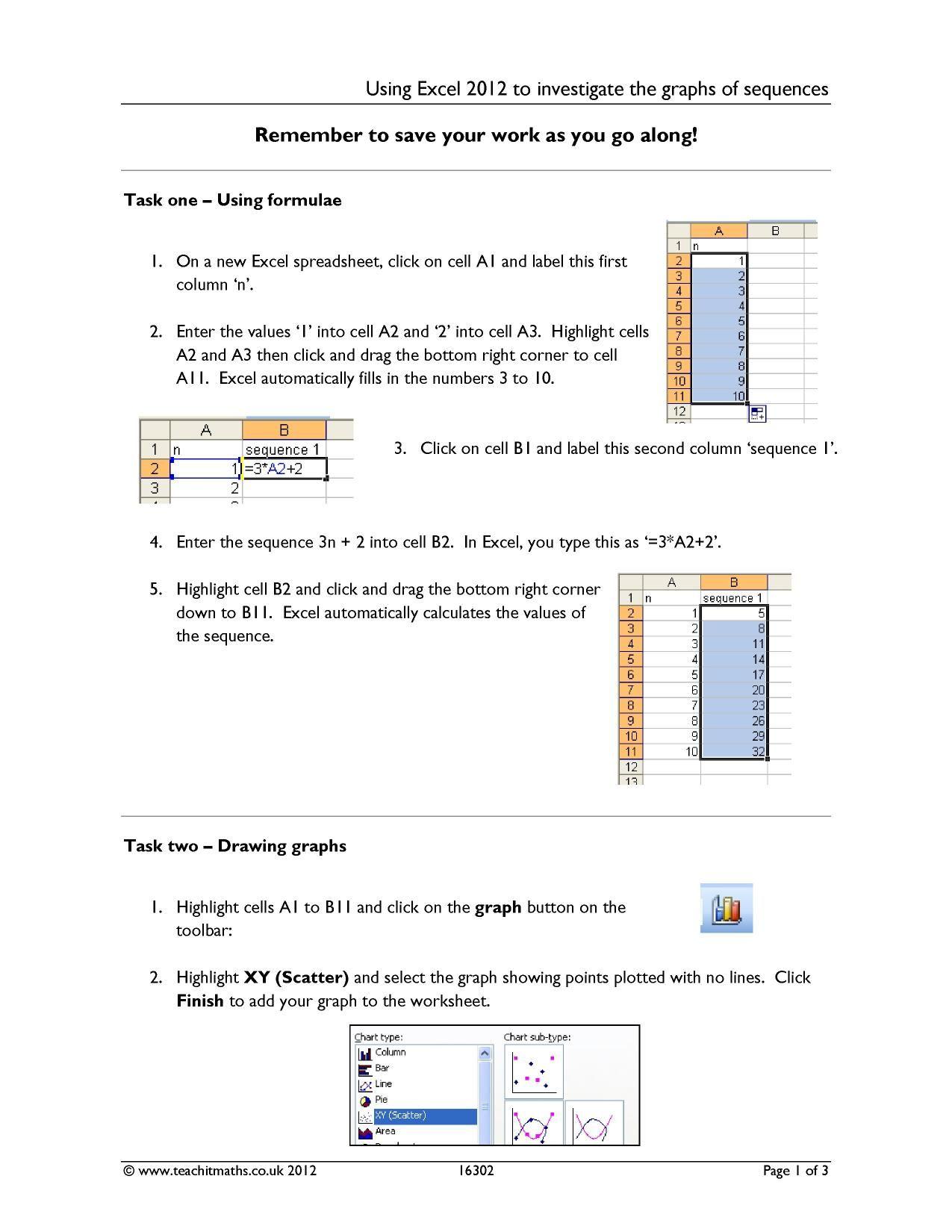 Quadratic Sequences Worksheet