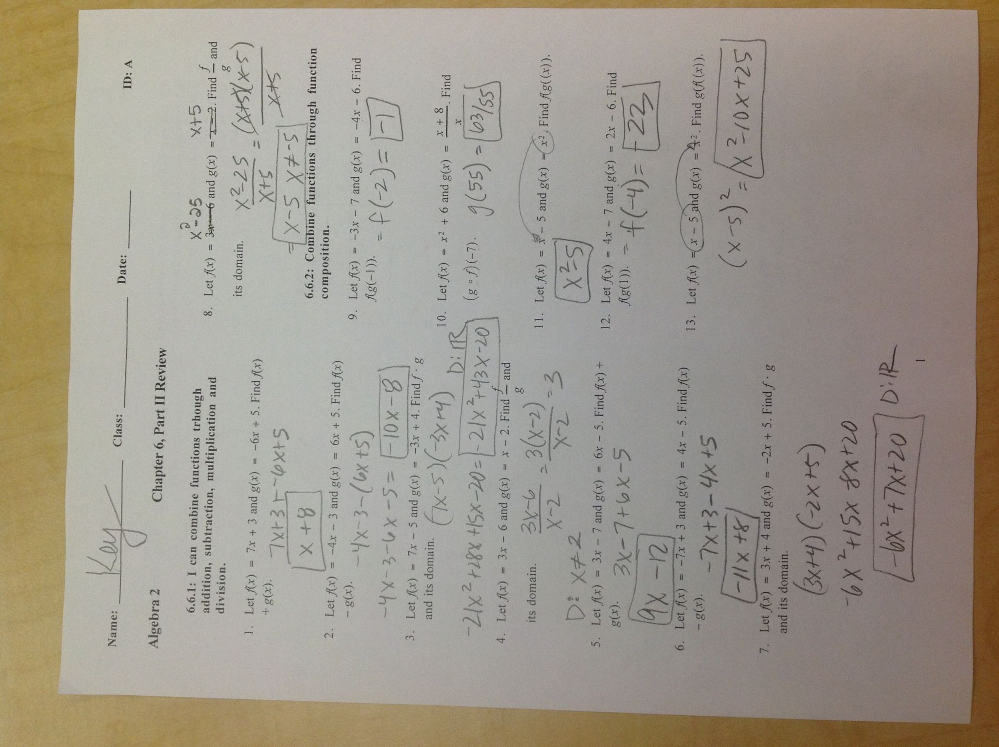 Algebra 2 Chapter 1 Worksheet