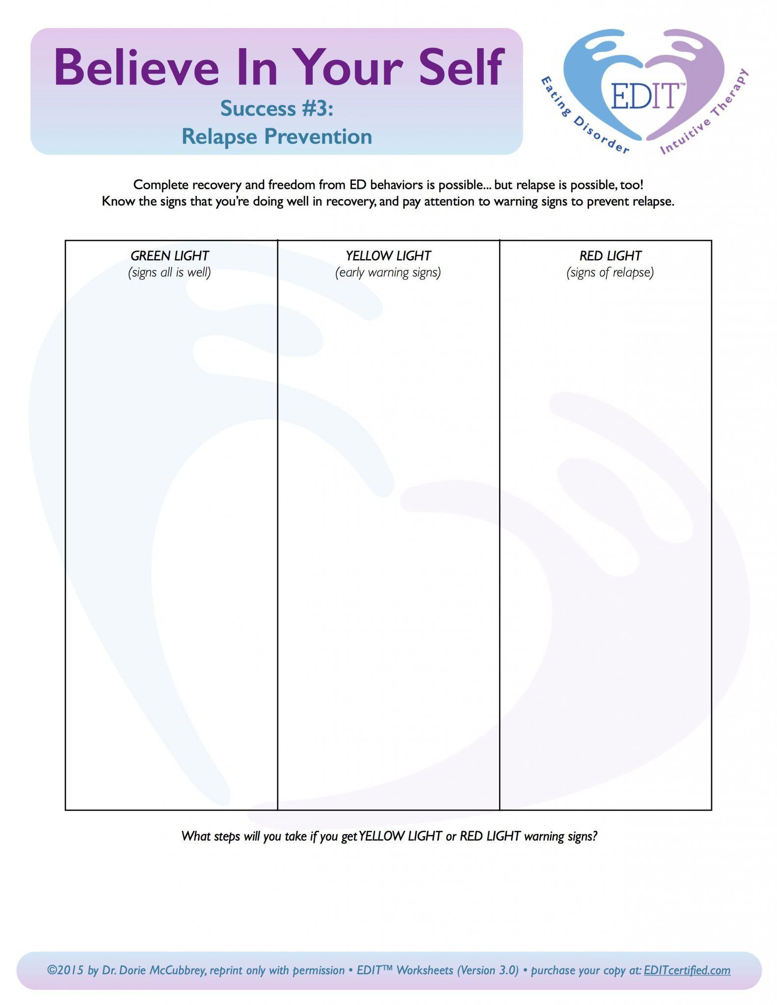 Relapse Prevention Plan Worksheet