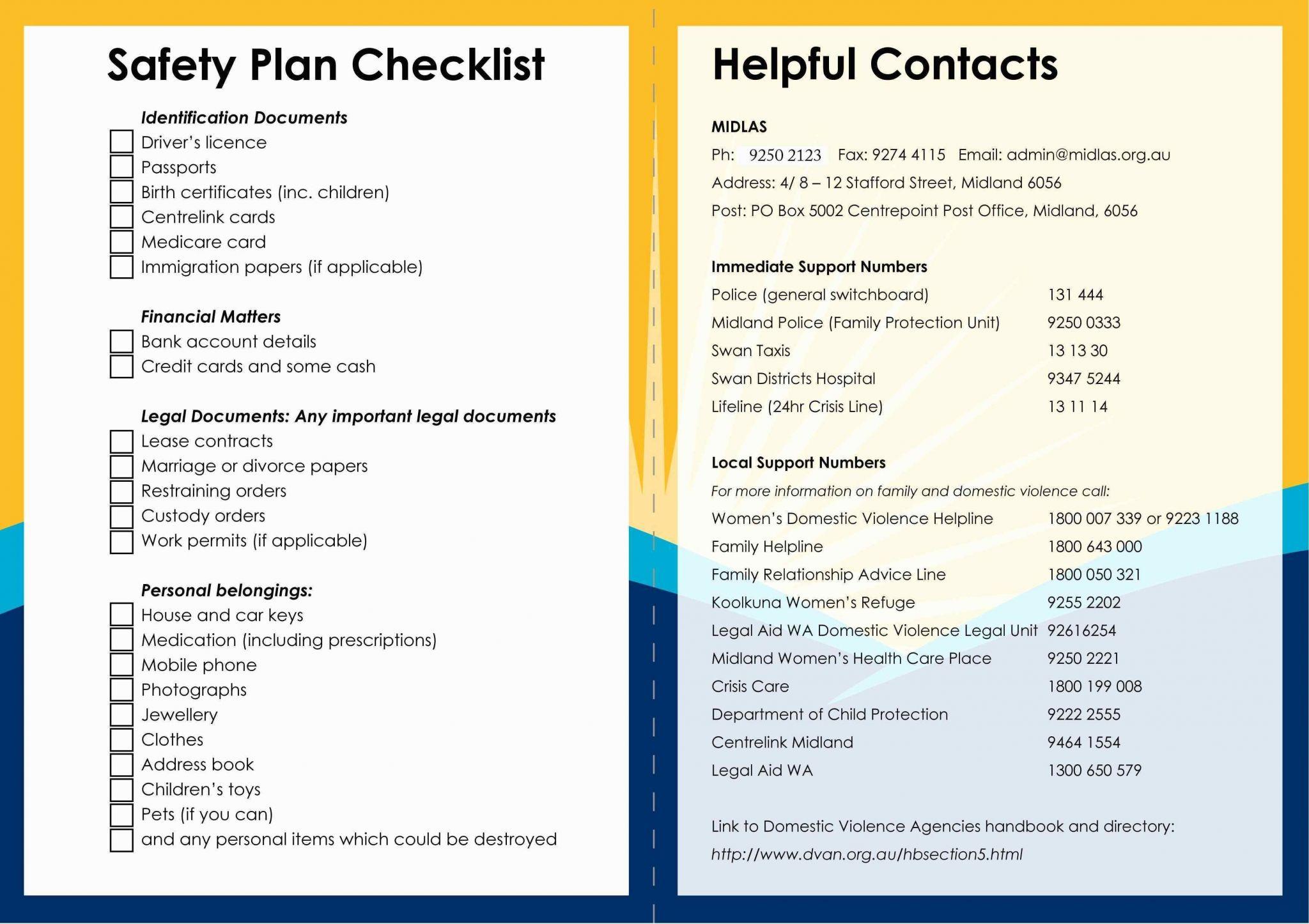 Safety Plan Worksheet