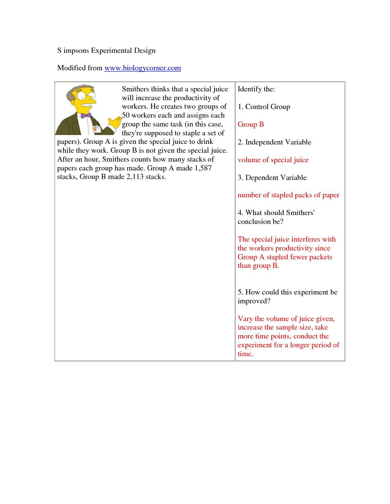 Scientific Method Worksheet Answer Key