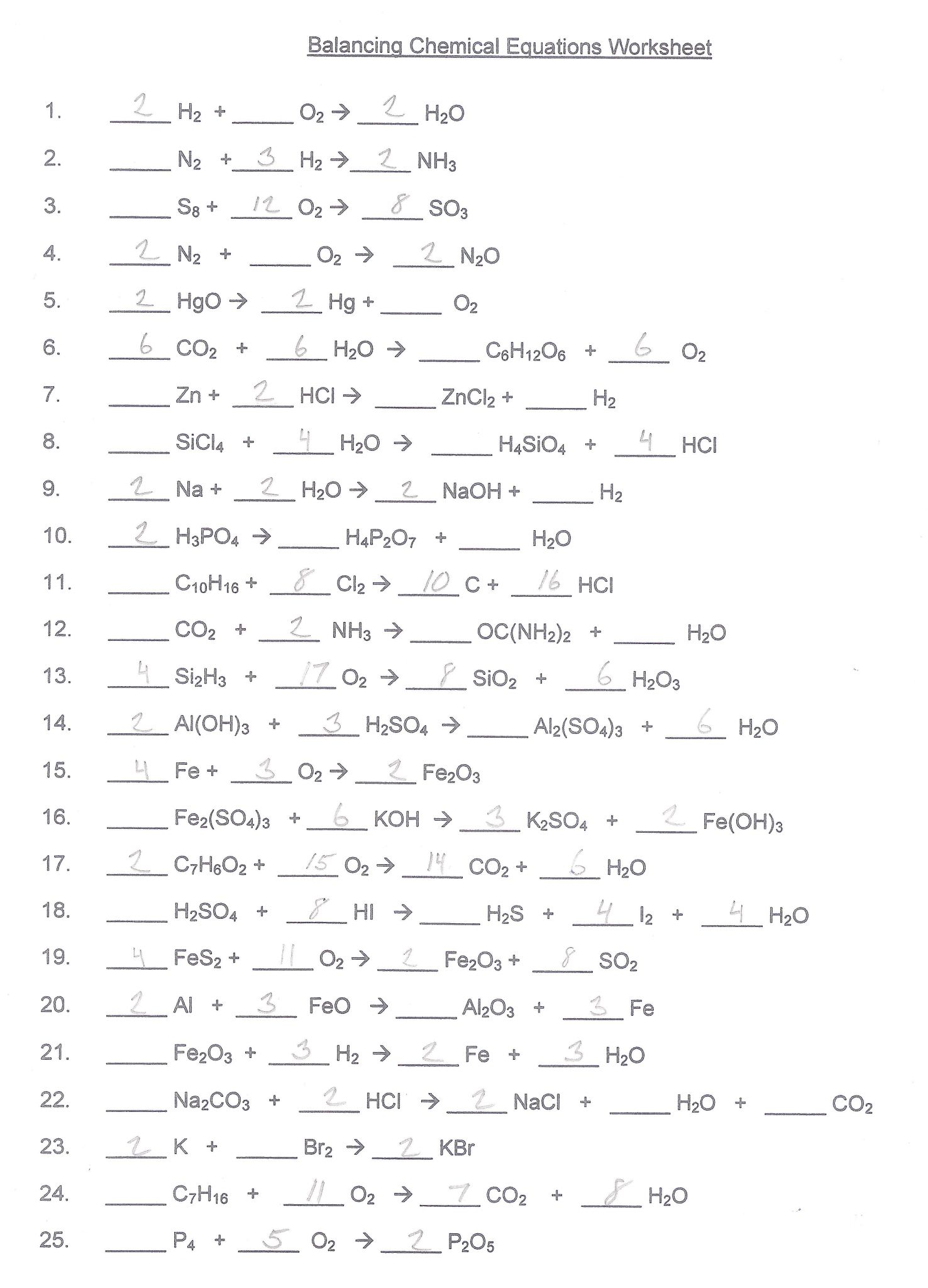 Section 11 1 Describing Chemical Reactions Worksheet Answers