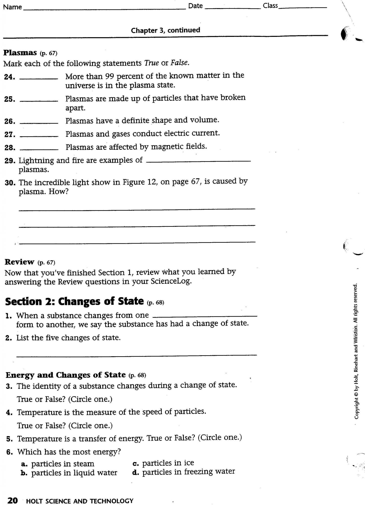 Section 3 Using Heat Worksheet Answers