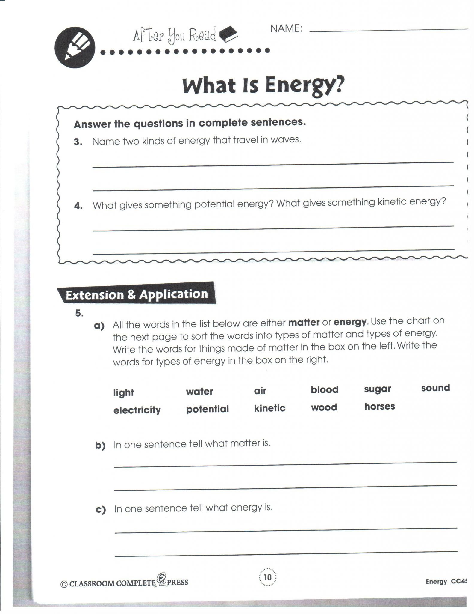 Temperature And Thermal Energy Worksheet