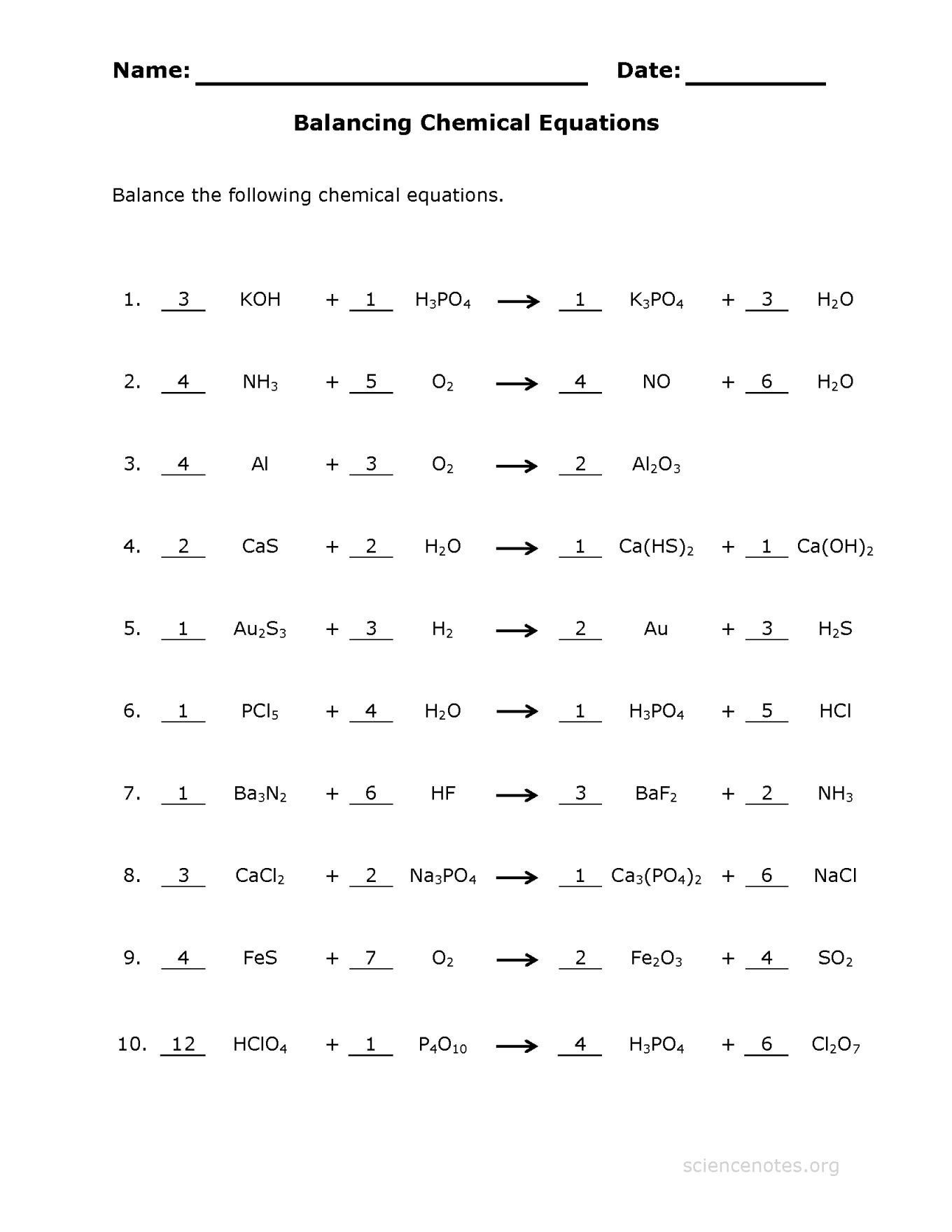Balancing Equation Practice Worksheet Answers  Balancing ...