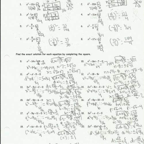 Completing The Square Worksheet Answer Key