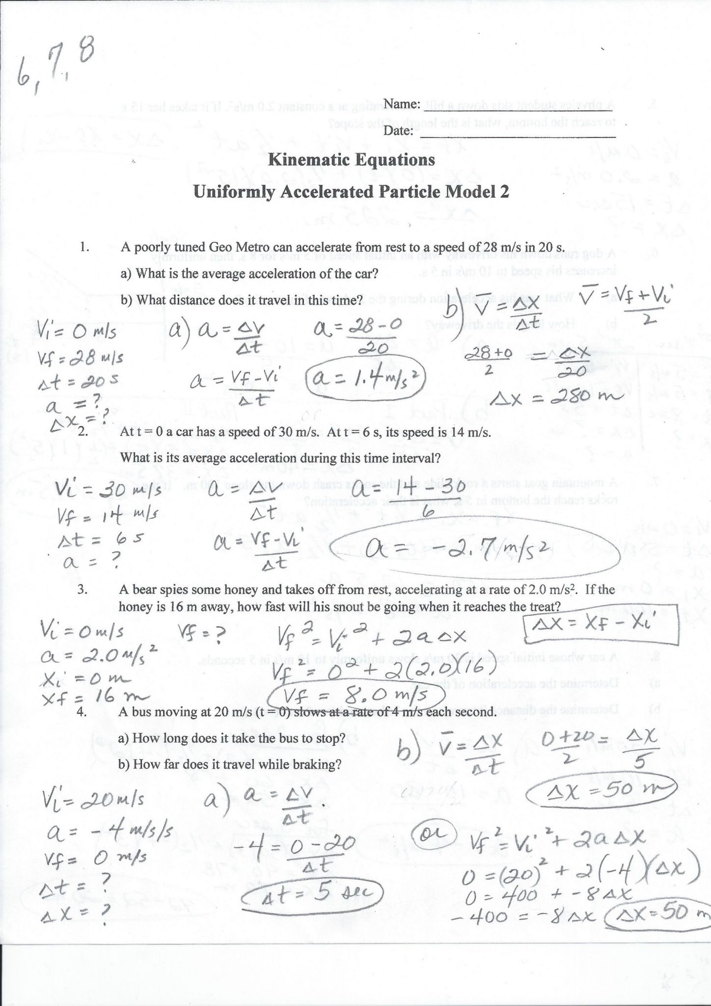 Speed Velocity And Acceleration Calculations Worksheet Answers Key