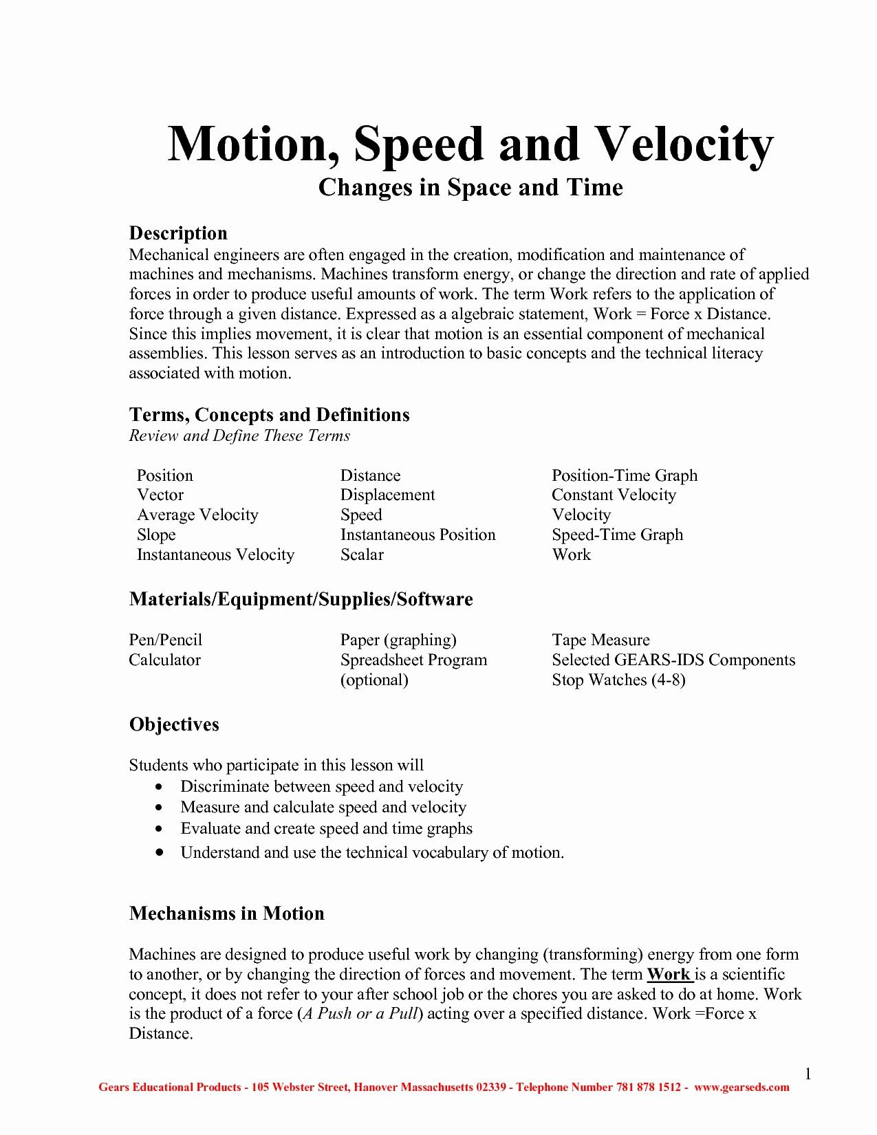 Physics Speed And Velocity Worksheet Answers