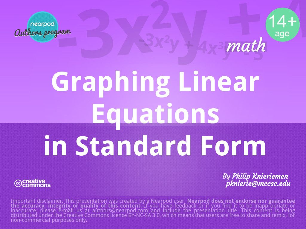 Standard Form Of A Linear Equation Worksheet