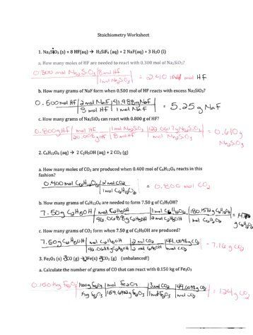 Stoichiometryyields Worksheet