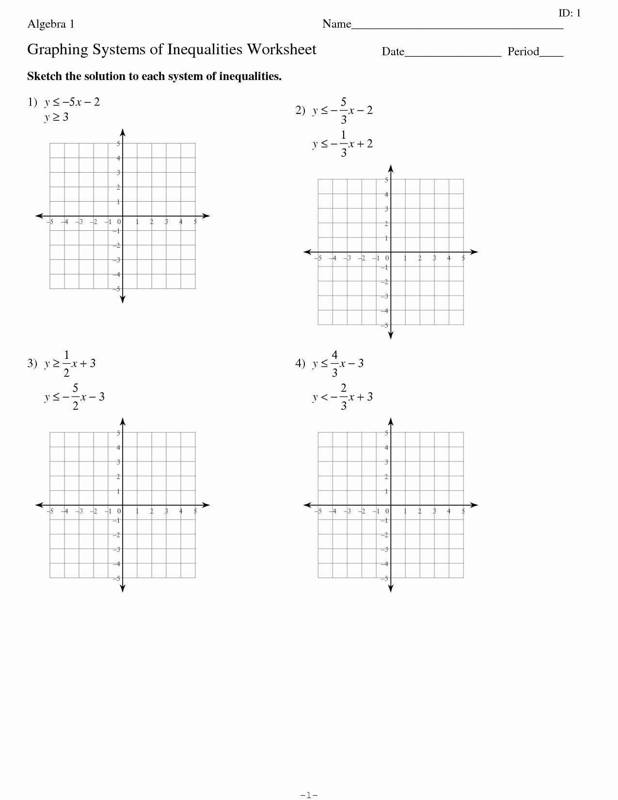 Systems Of Inequalities Worksheet