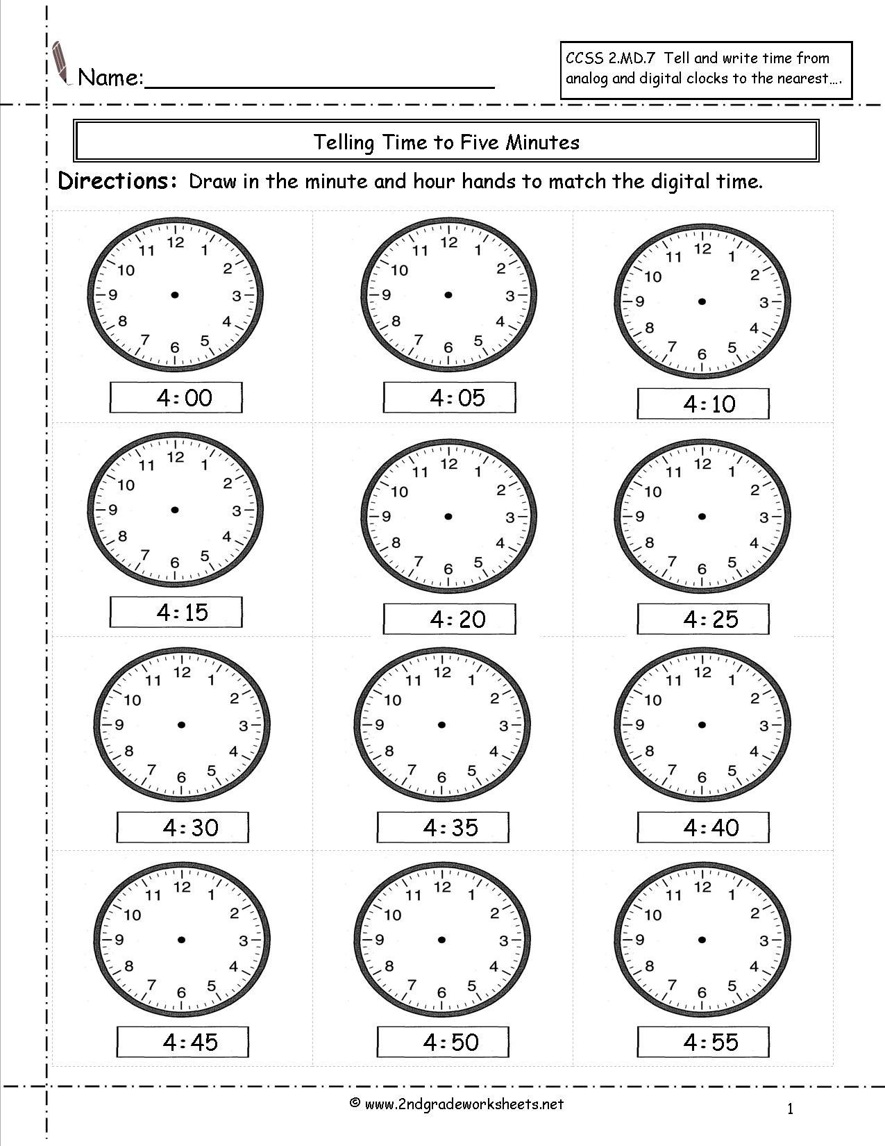Telling Time Worksheets 1st Grade