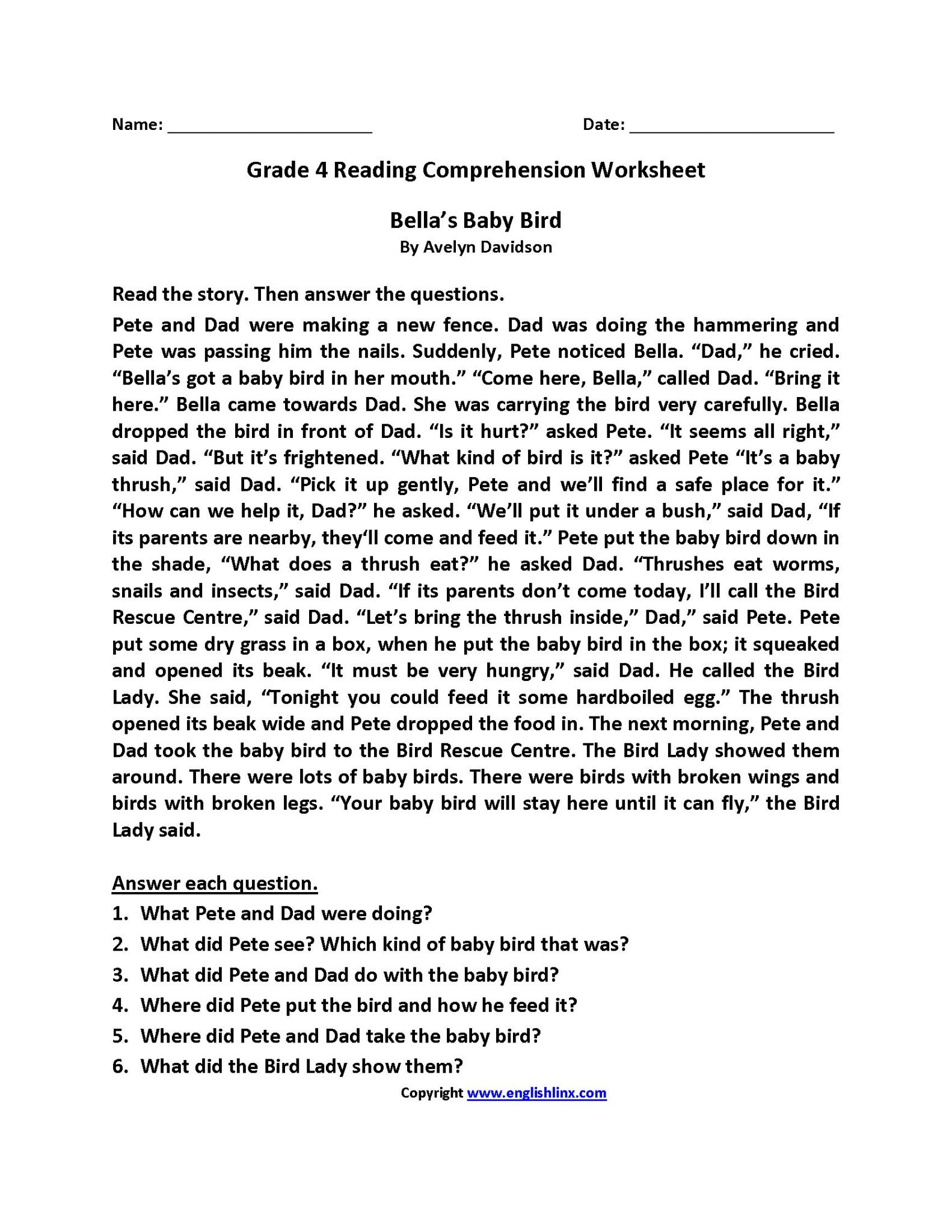 - Reading Comprehension Worksheets Third Grade Printable