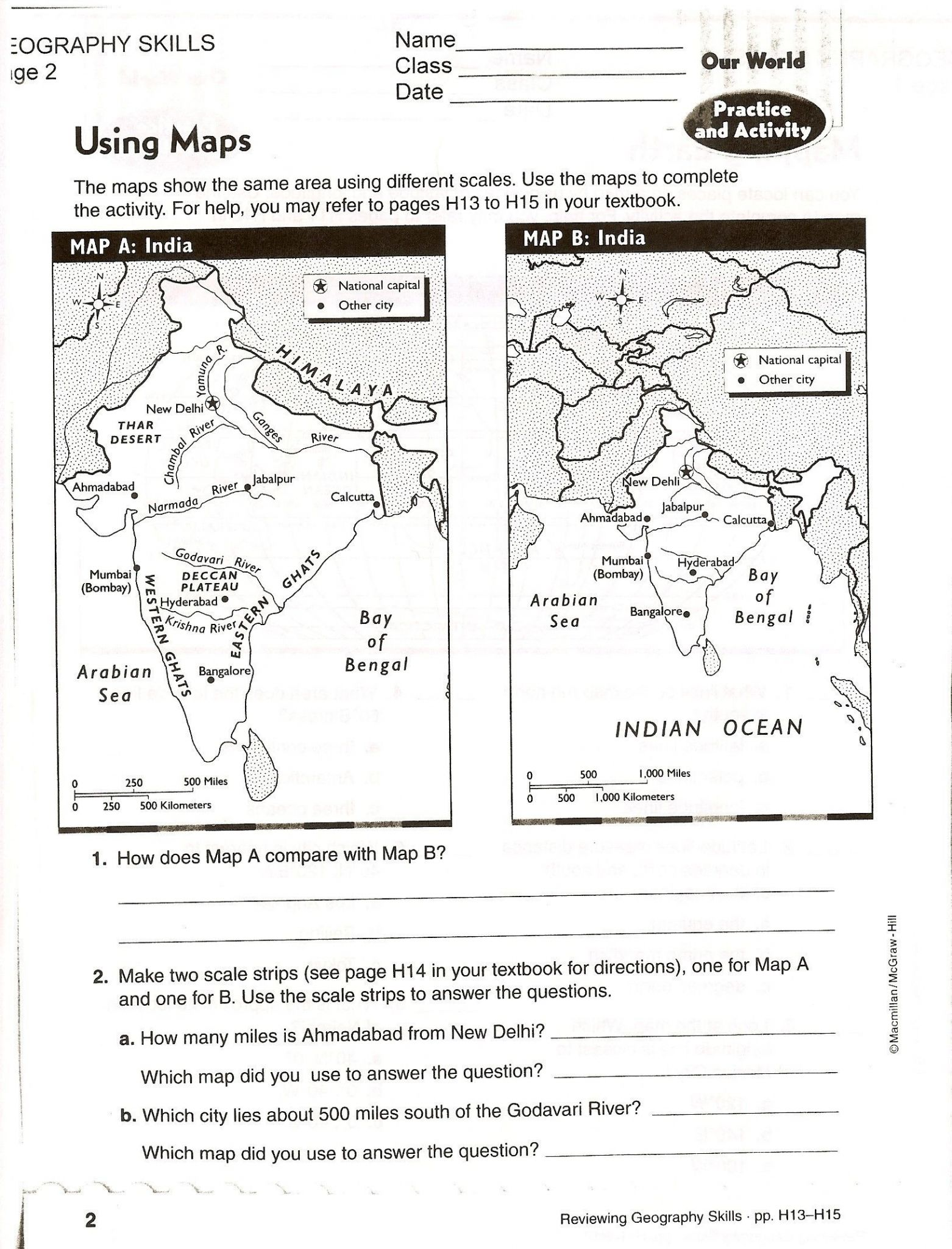 Topographic Map Worksheet Answers