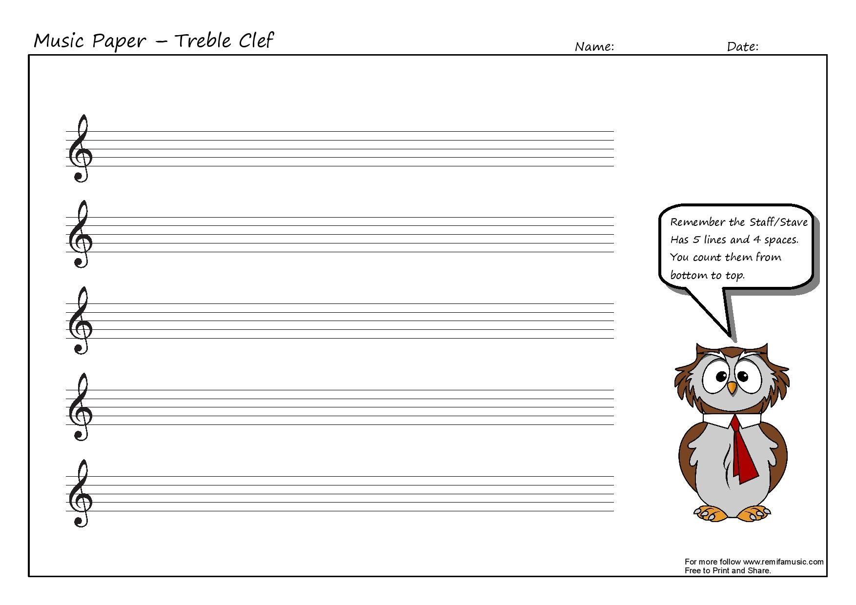 Treble Clef Ledger Lines Worksheet