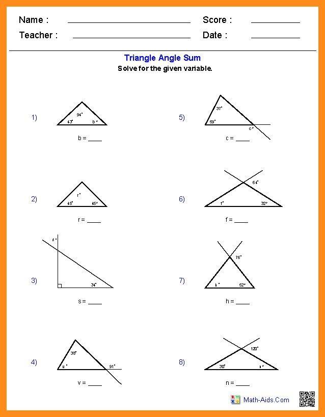 Triangle Angle Sum Worksheet : triangle, angle, worksheet, Worksheet, Triangle, Exterior, Angle, Theorem, Promotiontablecovers