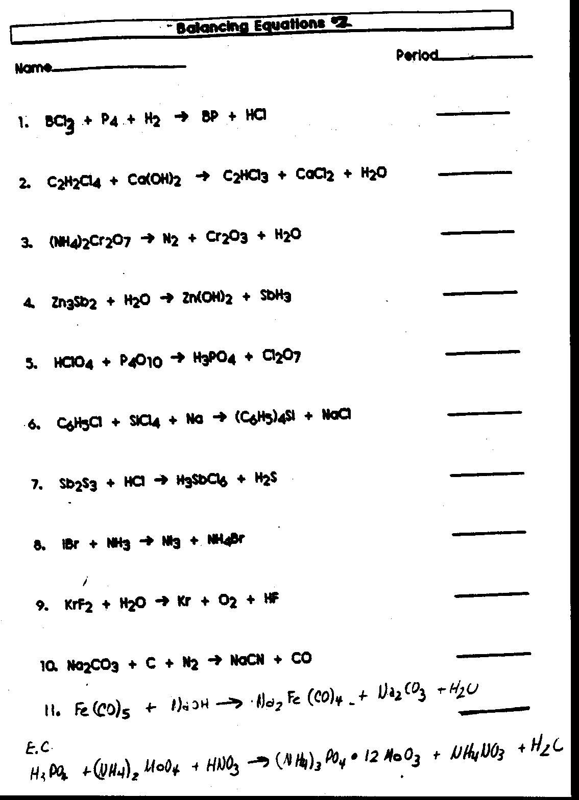 Chemical Reaction Types Worksheet